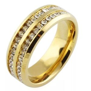 Other - Gold Tone Clear Crystal Ring